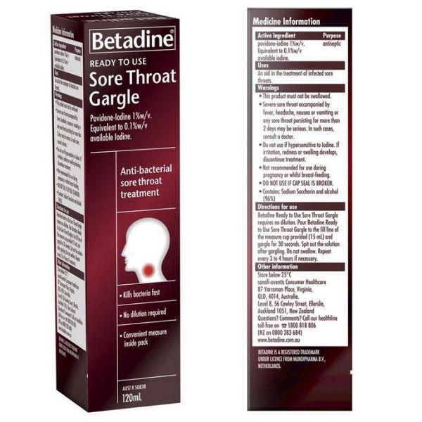 Betadine Ready To Use Sore Throat Gargle (Australia)